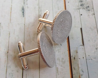 Cufflinks of two vintage Austrian mints. ' Silver ' stylish accessory.
