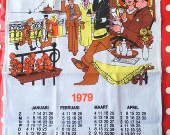 Vintage tea towel. Calendar 1979.