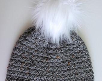 Lightweight Beanie, Faux Fur Pom, Crochet Hat