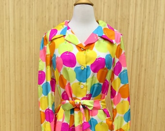 70/'s Vintage Red Butterfly Print Shirt Dress Tanner S 6 Rockabilly Cotton