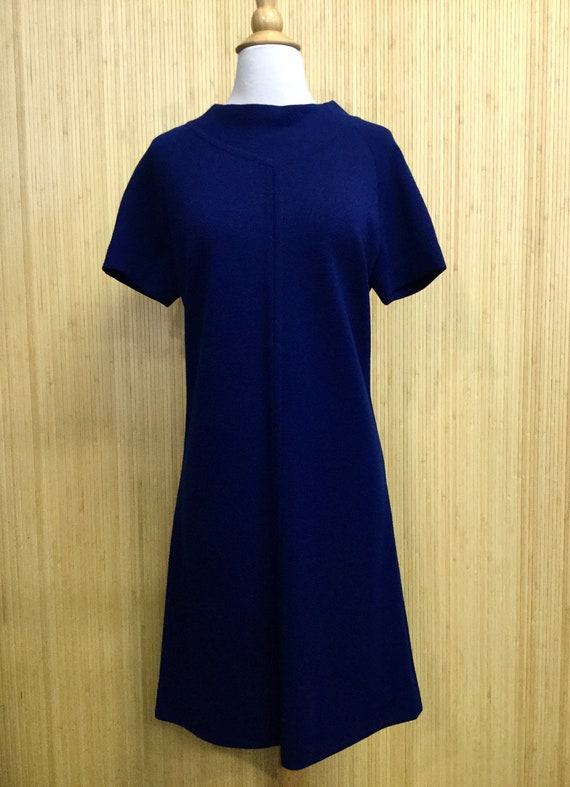 1960's Vintage Goldworm Navy Blue Knit Shift Dress