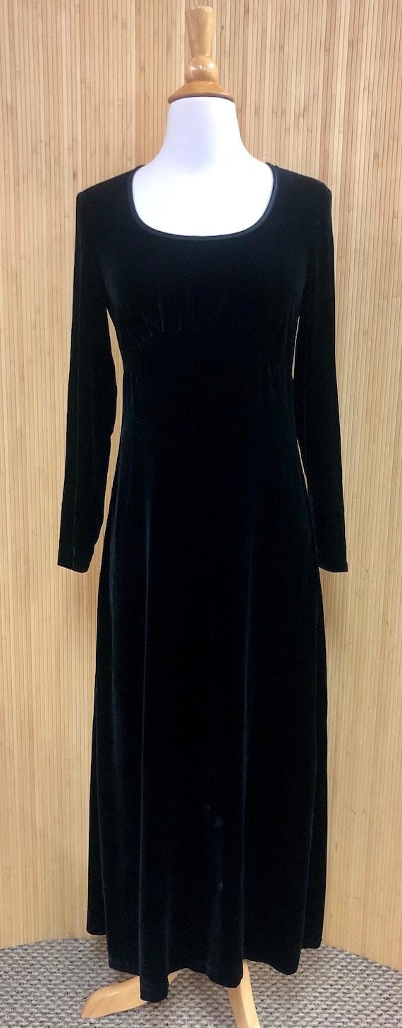Vintage 1990's Elegant Black Velvet Empire Waist M