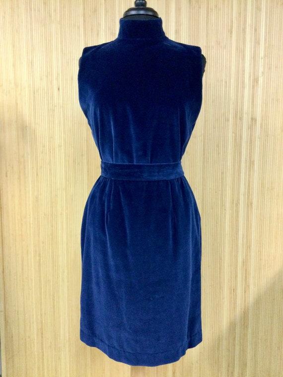 Rare 1990's Vintage Ann Taylor Blue Velvet Mock Ne
