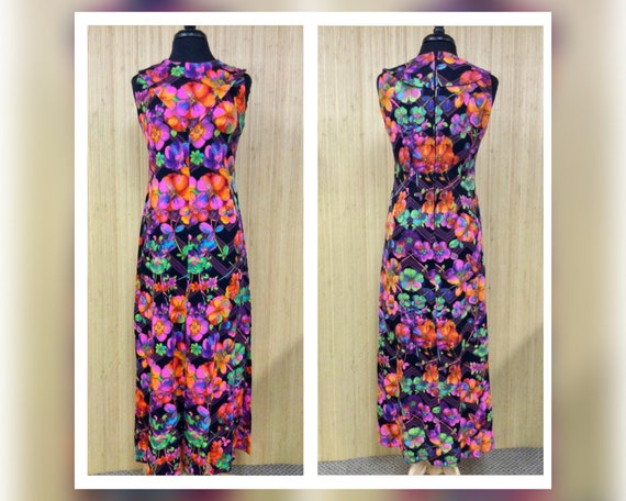 1970's Vintage Handmade Neon Psychedelic Floral S… - image 1