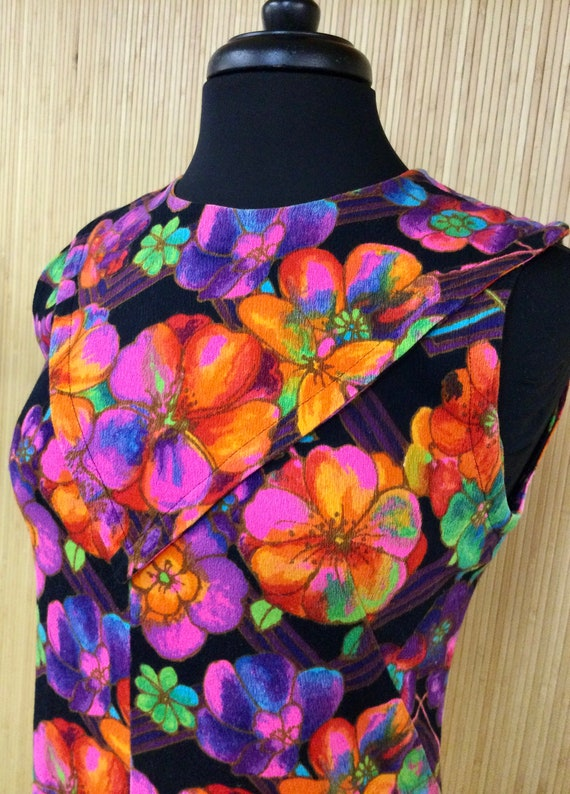 1970's Vintage Handmade Neon Psychedelic Floral S… - image 6