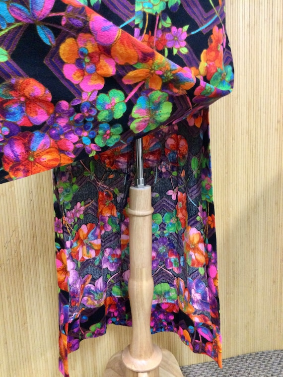 1970's Vintage Handmade Neon Psychedelic Floral S… - image 9