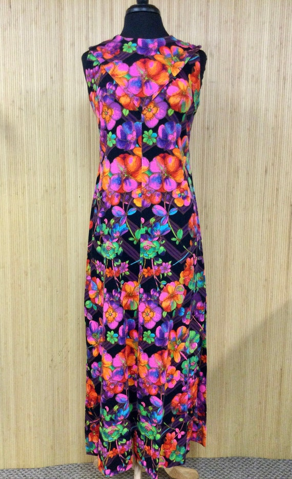 1970's Vintage Handmade Neon Psychedelic Floral S… - image 2