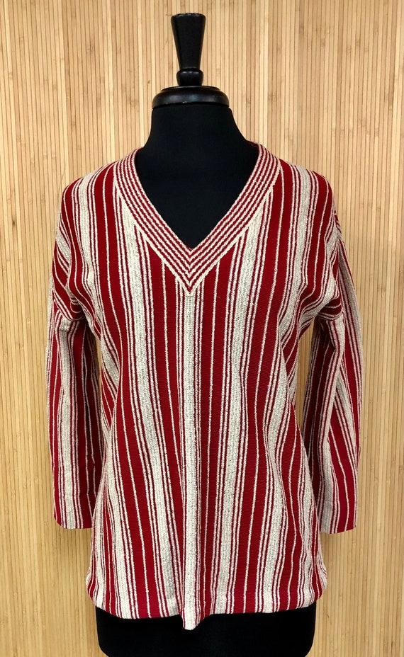Vintage 1970's Butte Knit Red and Tan Striped V-Ne