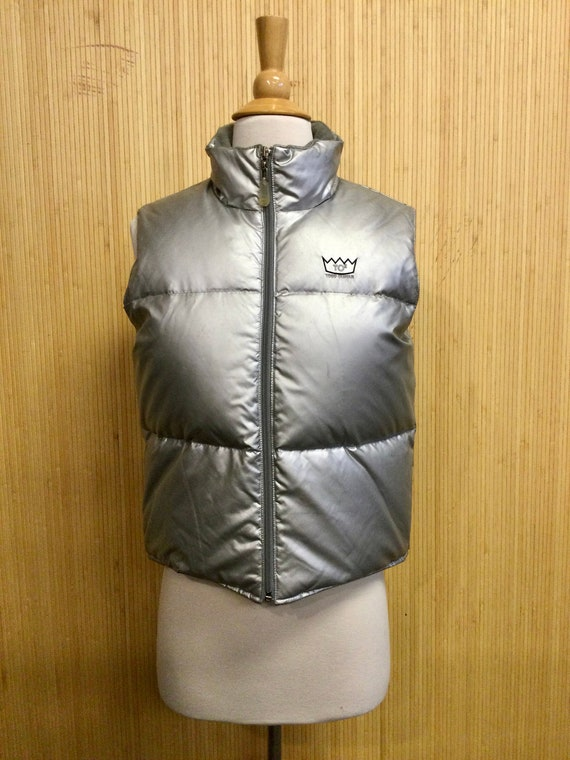 Todd Oldham Silver Mock Neck Down Puffer Vest