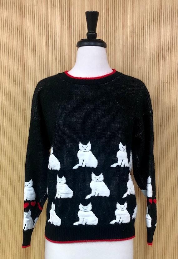 M Vinatge 80s 90s Women/'s Hearts Valentines Day Sweater Vest WHITE STAG
