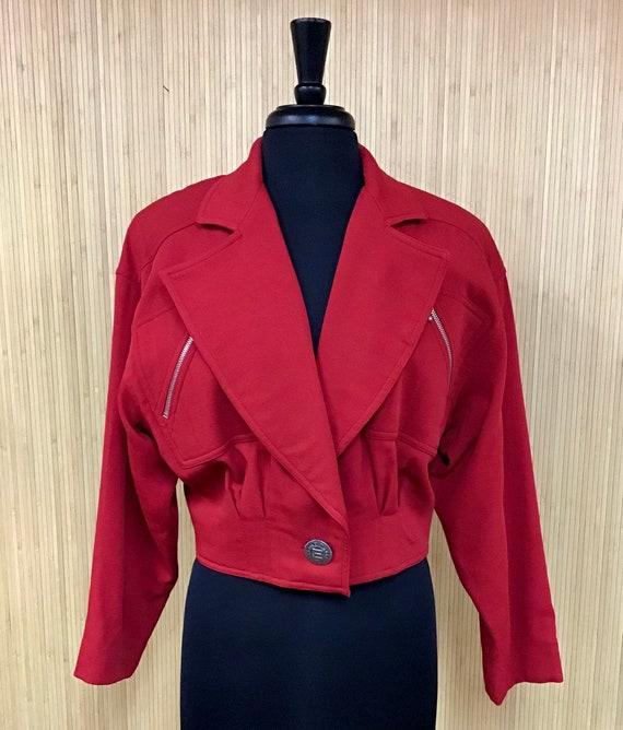 Vintage 1980's Emanuel Ungaro Cherry Red Cropped