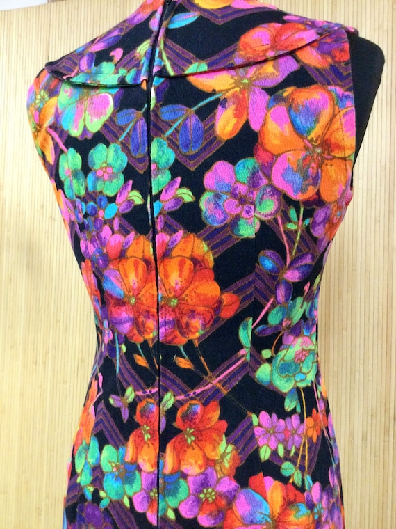 1970's Vintage Handmade Neon Psychedelic Floral S… - image 8