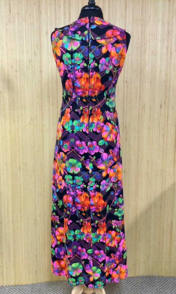 1970's Vintage Handmade Neon Psychedelic Floral S… - image 3