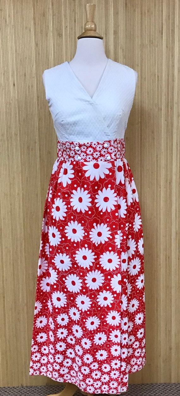 1960's Keyloun Flower Print Maxi Sundress