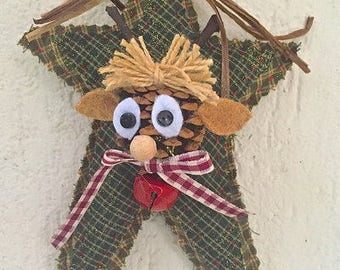 Christmas-star fabric with pine cone-reindeer