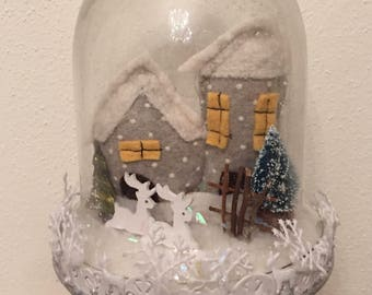 Christmas-Splash back with snowy Christmas landscape and interior light