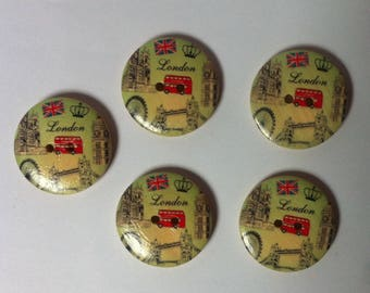 Set of 5 wooden buttons for sewing or scrapbooking
