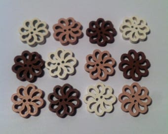 Set of 12 wooden buttons for sewing or scrapbooking