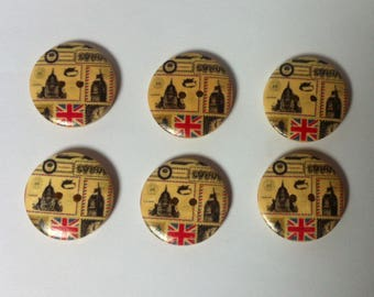 Set of 6 wooden buttons for sewing or scrapbooking