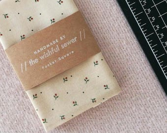 Rose print men's pocket square // cotton pocket square / floral pocket square / wedding pocket square / men's handkerchief