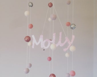 Personalised pompom mobile