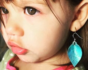 Mini Metallic Turquoise teardrop leaf shaped leather earrings, lightweight earrings, joanna gaines inspired, bohemian, baby earrings