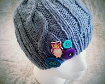 Cabled Beanie - Muted Blue - Owl Button - Kitschy Buttons