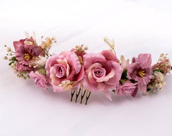 Flower comb. Semi-Bridal Tiara. Peinecillo of Guest.