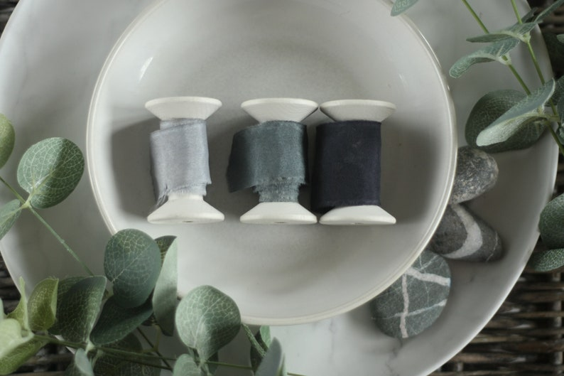 hand dyed using natural plant dyes Organic and Peace silk ribbons in Grey