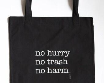 Handmade Upcyling Shopping bag/tote bag/Shopper/Black/slogan/tagline/recycled/sustainable/bag for shopping