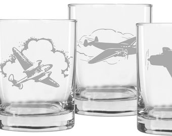 Aviation Whiskey Glasses, Airplane Glass, Gift for Pilot, Pilot Gift, Aviation Gifts, Airplane, Scotch Glass, Barware, Gifts for Men, Gift