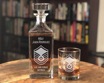 Personalized US Air Force Sergeant Whiskey Decanter Set, USAF Retirement Gift, Military Retirement Gift, Fathers Day Gift