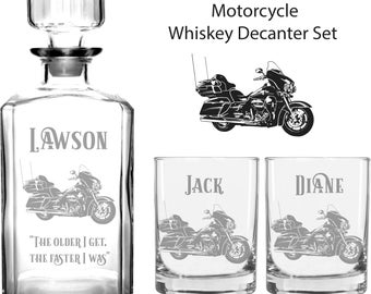 Motorcycle gift Harley Biker Gift Road Glide Motorcycle Gift Street Glide Motorcycle Decanter Set Engraved Decanter