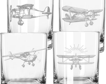 Whimsical Aviation Whiskey Glasses, Airplane Glass, Gift for Pilot, Pilot Gift, Aviation Gifts, Airplane, Flying Gift, Plane Lover
