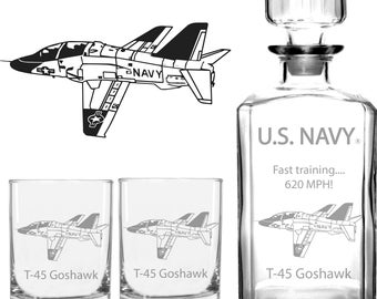 US Navy T-45 Goshawk Whiskey Decanter Set, US Navy Pilot Gift, Navy Retirement, Gift for Navy Aviator, US Navy Gift, Naval Officer Gift