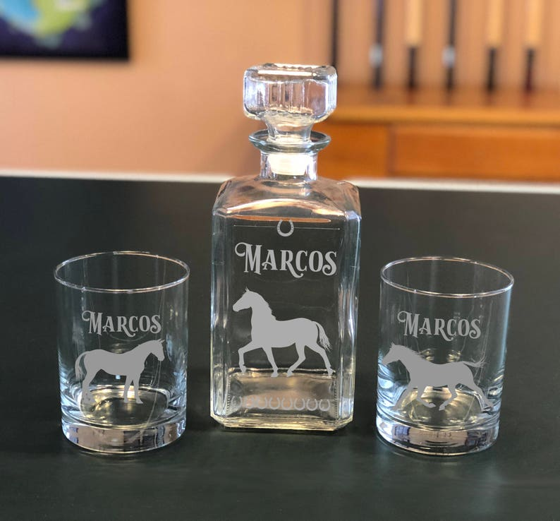 Personalized Horse Whiskey Glasses & Decanter Set Gifts for image 0