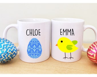 Easter decorations easter cups easter basket gifts easter mugs 2 easter mugs with names cute easter gifts for kids childrens easter gift unique mugs sugar negle Image collections