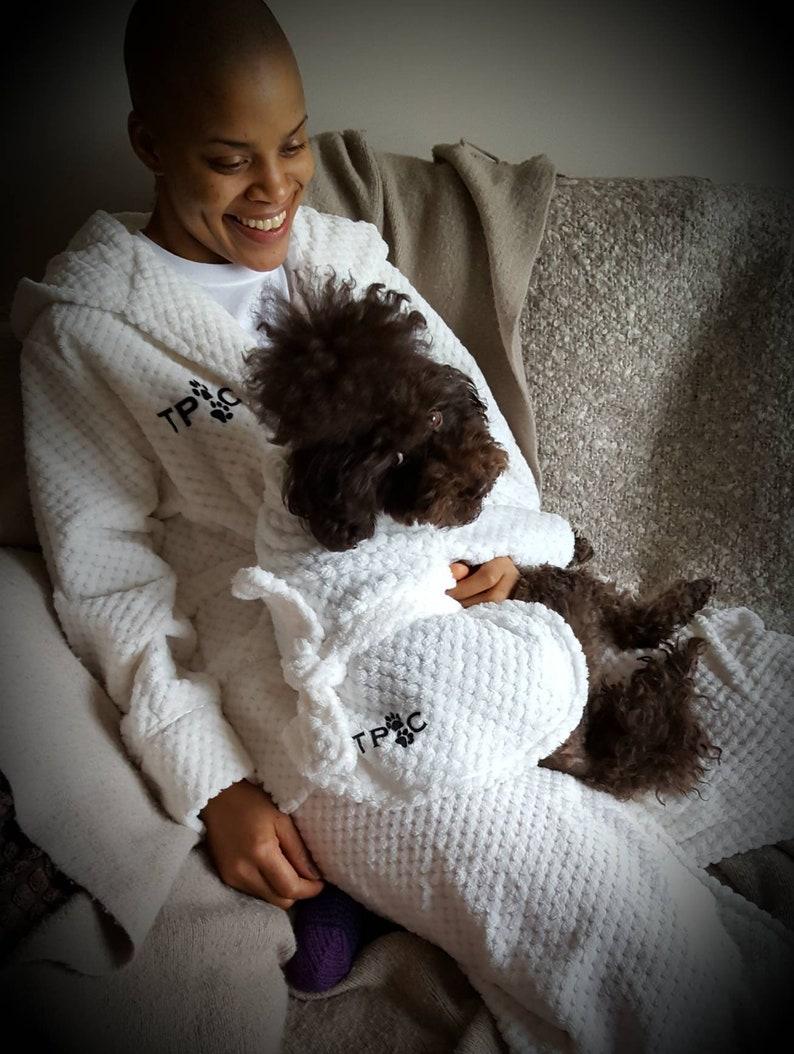 Owner Bathrobe. Owner dressing gown. Owner and dog dressing Cream
