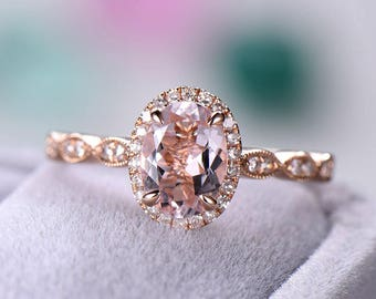 Rose Gold Pink Morganite Engagement Ring CZ Diamond Halo Wedding Art Deco  Women Bridal Set Oval Cut Antique Anniversary Gift for Her Promise 76404c3adcca