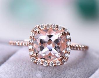 Morganite 14k 18k Rose Gold Engagement Ring Sterling Silver Cushion CZ Diamond  Halo Half Eternity Wedding Women Promise Anniversary Gift Set f72d790cad89