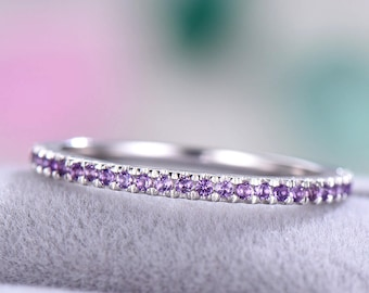 bac3fb1a0 Amethyst Wedding Band 925 Sterling Silver 14k White Gold Half Eternity  Wedding Bridal Stacking Matching Ring Minimalist Pave Stackable Band