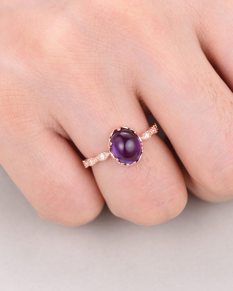 Amethyst Engagement Ring 925 Sterling Silver 14k Rose Gold Antique CZ Diamond Solitaire Wedding Promise Ring Retro Anniversary Gift Oval Cut