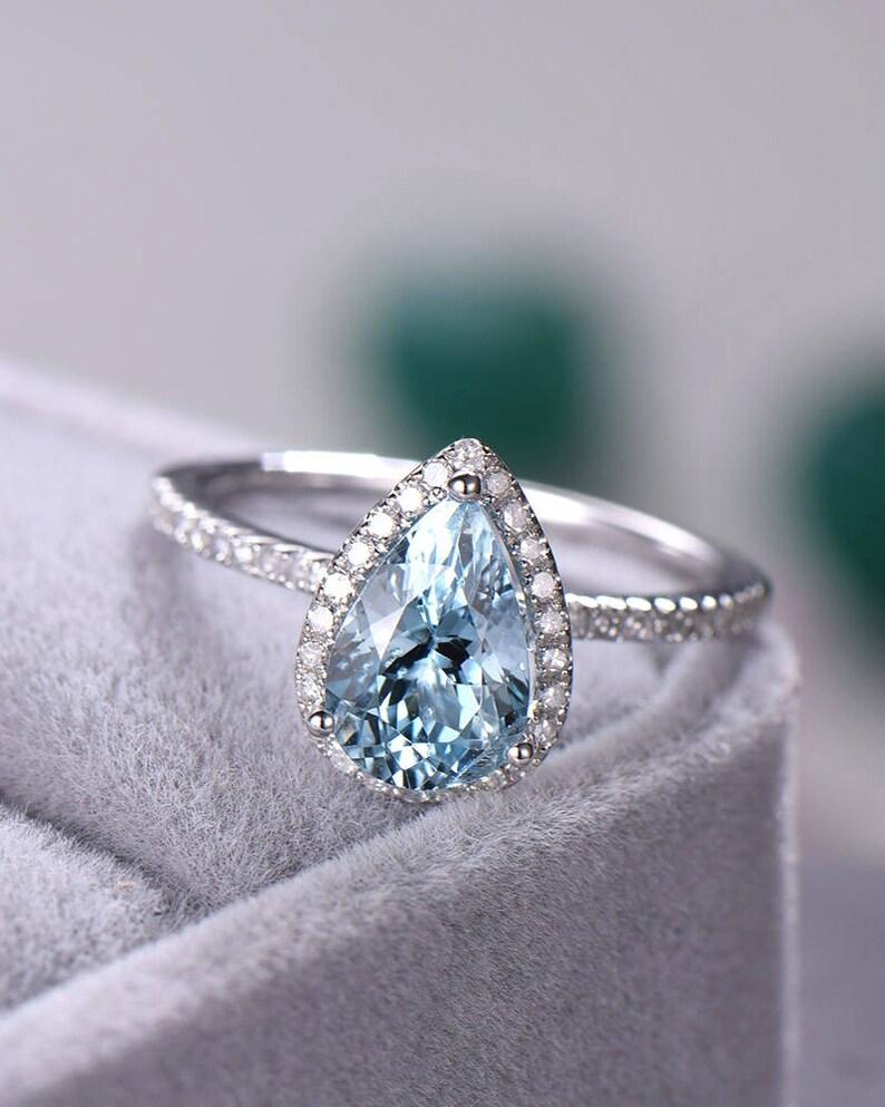 61e3af1f2 Pear Shape Blue Aquamarine Engagement Ring CZ Diamond Halo 925 | Etsy