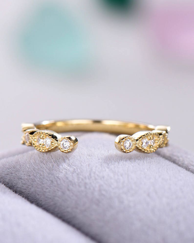 Cubic Zirconia Wedding Band 14k Yellow Gold Open Stacking Ring Engagement Bridal Anniversary Gift Matching Band Antique Milgrain Women