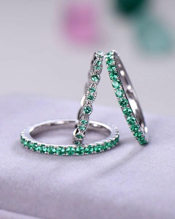 Green Cz Wedding Ring Set 925 Sterling Silver 14k White Gold Etsy
