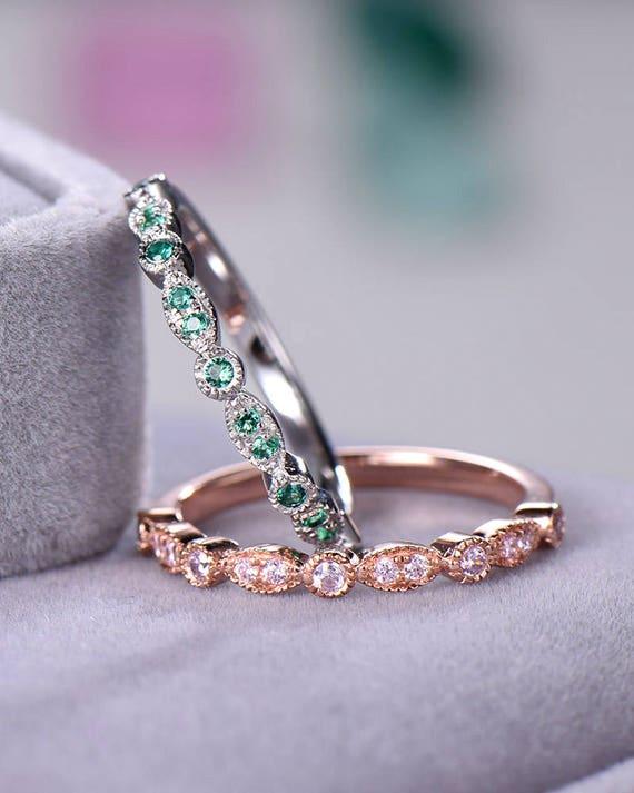 Green Pink Cz Diamond Wedding Ring Set 925 Sterling Silver Etsy