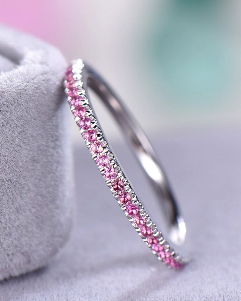 Baguette CZ Diamond Silver 14k White Gold Wedding Band Unique Half Eternity Stacking Matching Ring Anniversary Gift Bridal Jewelry