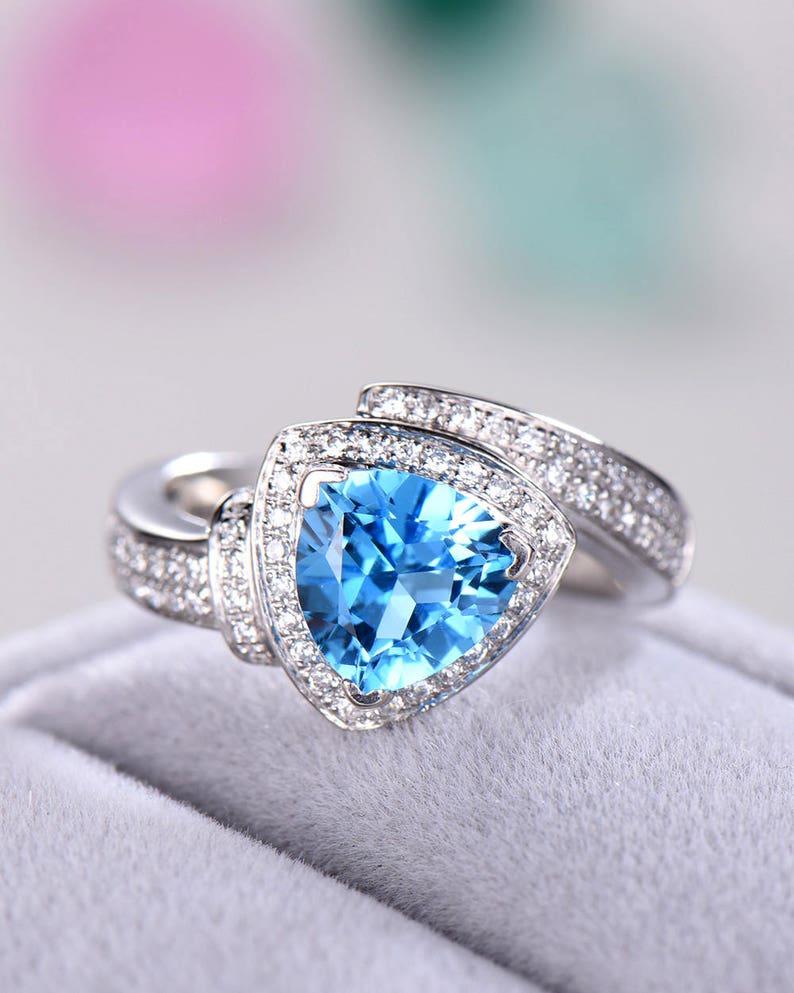 7e7f985343b410 Swiss Blue Topaz Engagement Ring 925 Sterling Silver 14k White | Etsy