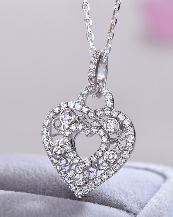 Rose Gold Plated Ruby Cubic Zirconia Heart .925 Sterling Silver Pendant Necklace