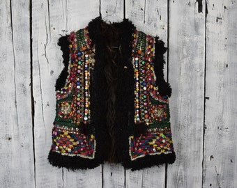 Antique Ukrainian vest   Traditional Ukrainian sleeveless shirt   Hutsul  vest kiptar   Ukrainian folk sleeveless fur sheepskin coat baf7fa0fa